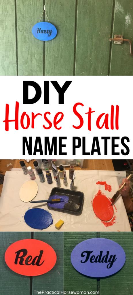 DIY horse stall name plate pin