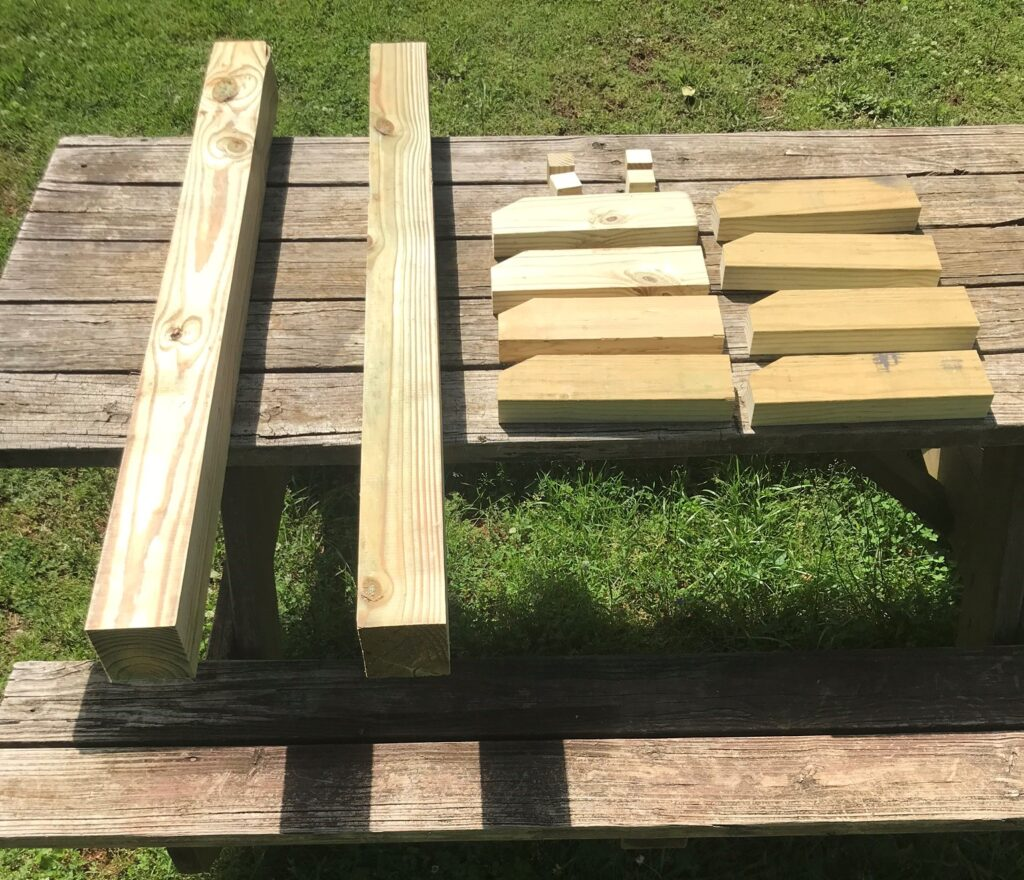 supplies on picnic table
