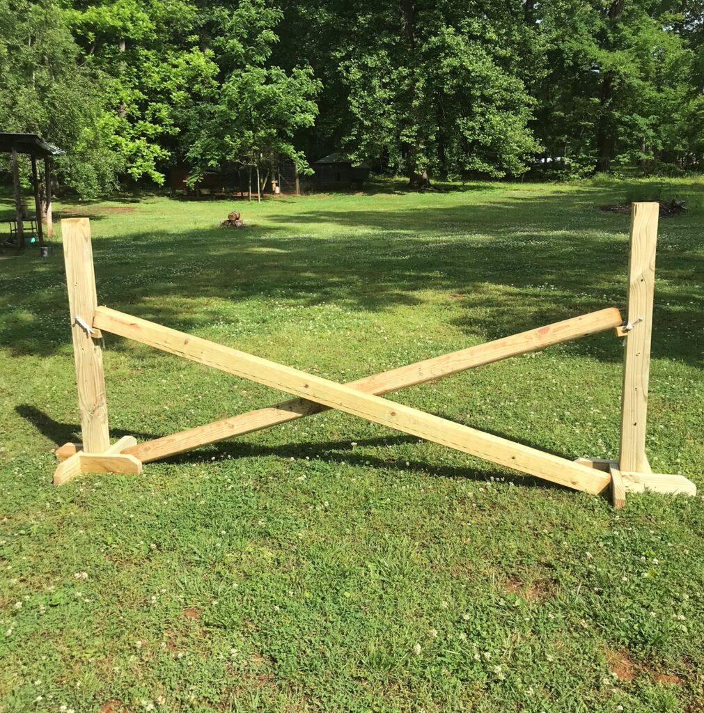 DIY horse show jump in yard